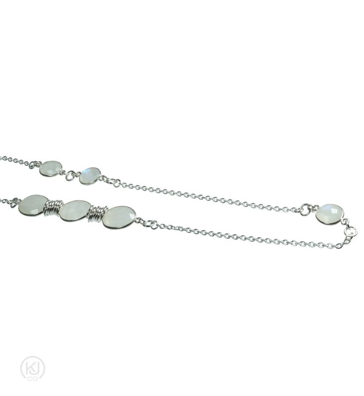 Gemma – Long Station Necklace – Just stunning, these 36'(91cm) long station necklaces, no matter the gemstone, add the perfect accent to your outfit. Wear it with that little black dress, long blouse or tunic sweater, to add that little punch of glam and colour, to the ordinary. These beautifully handcrafted faceted bezel set gemstones, set in Rhodium plating on Sterling silver, provide the perfect punctuation to the Sterling Silver ring accents and diamond cut anchor chain set at 3-inch…