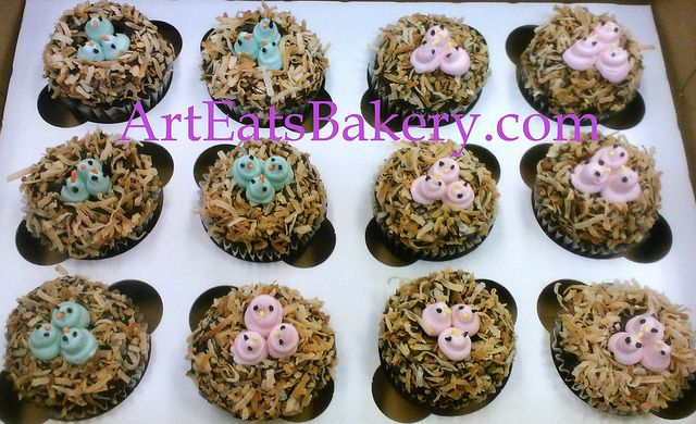 Pink and green baby birds in coconut nests on baby shower cupcakes by arteatsbakery, via Flickr
