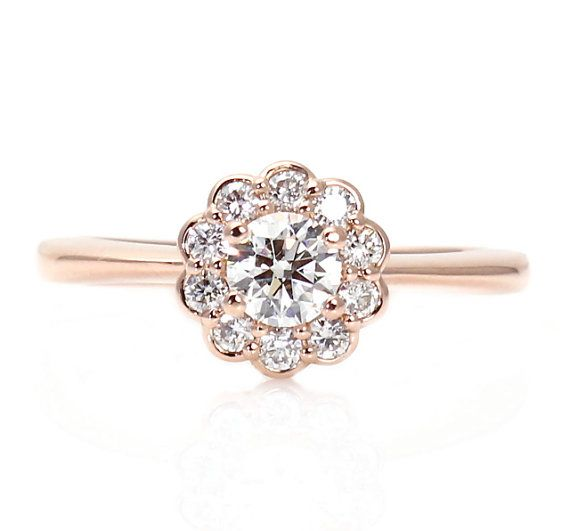Rose Gold Diamond Engagement Ring Halo Cluster 14K Custom Engagement Ring Bridal Jewelry