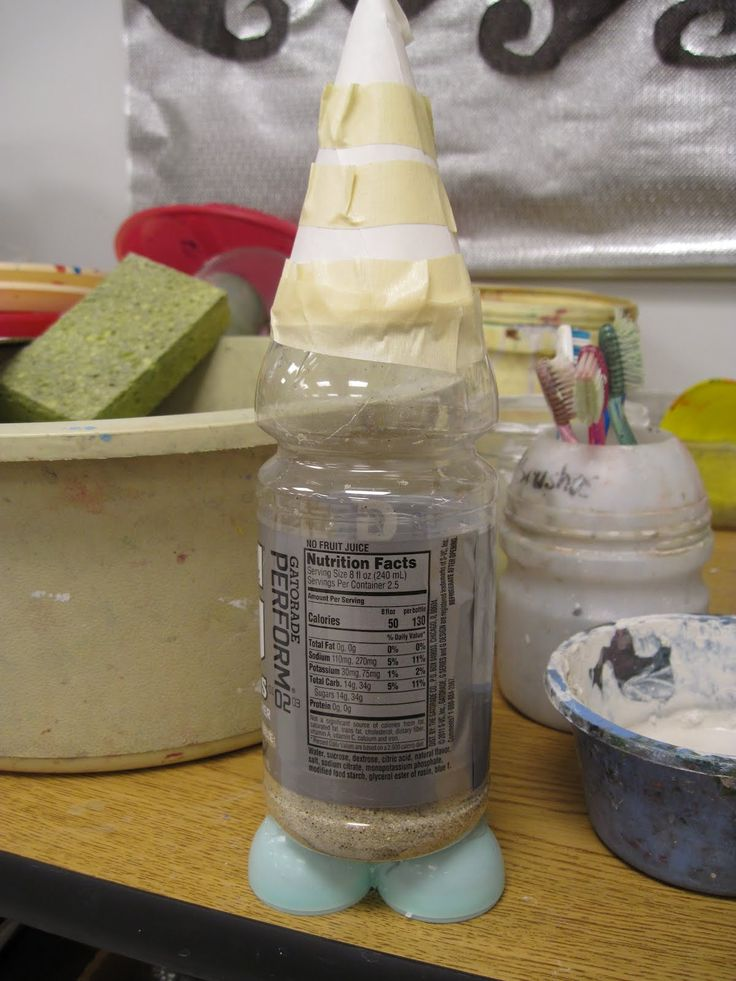 Garden Gnomes!  Cover with paper mache and then paint. Water bottle, paper.. can use model magic to make feet...