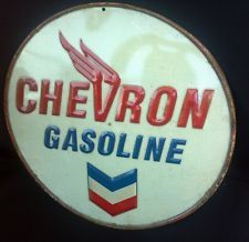 Chevron gas station oil vintage look embossed Metal Sign Man Cave Garage Rat Rod