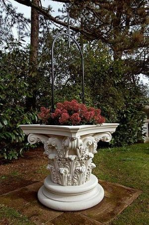 Well Head Garden Planter from Gardensite.co.uk . A highly decorated cast stone planter that takes the shape of a Corinthian column, the design is inspired by the styles of Greek and Roman classical architecture with the planter is embellished with acanthus leaves and scrolls.