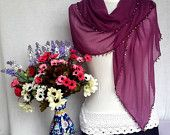 Burgundy Soft Elegant Cotton Turkish Scarf Shawl Valentine's Gift For Her Valentine's day Gift Idea Europeanstreetteam Craftoriteam