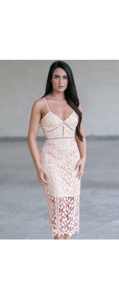 Lily Boutique Caitlin Crochet Lace Pencil Dress in Peach, $42 Peach Lace Pencil Dress, Cute Lace Dress, Peach Midi Pencil Dress www.lilyboutique.com