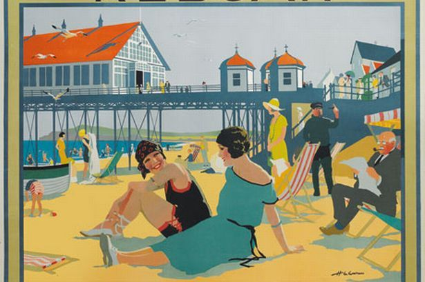 Rare poster of Redcar , by Henry George Gawthorn, who is possibly the man in spectacles reading the paper.