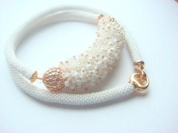 Necklace associated from Miyuki Japanese white by Vasilisinsunduk
