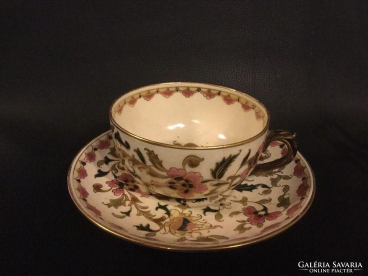 Zsolnay teás csésze tányérral, perzsa virágdekorral, aranyozással