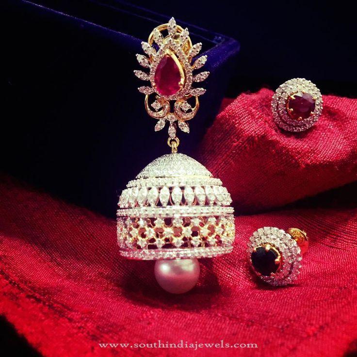 Bridal Diamond Jhumkas, Diamond Jhumka for Brides, Bridal Diamond Jewellery Designs.