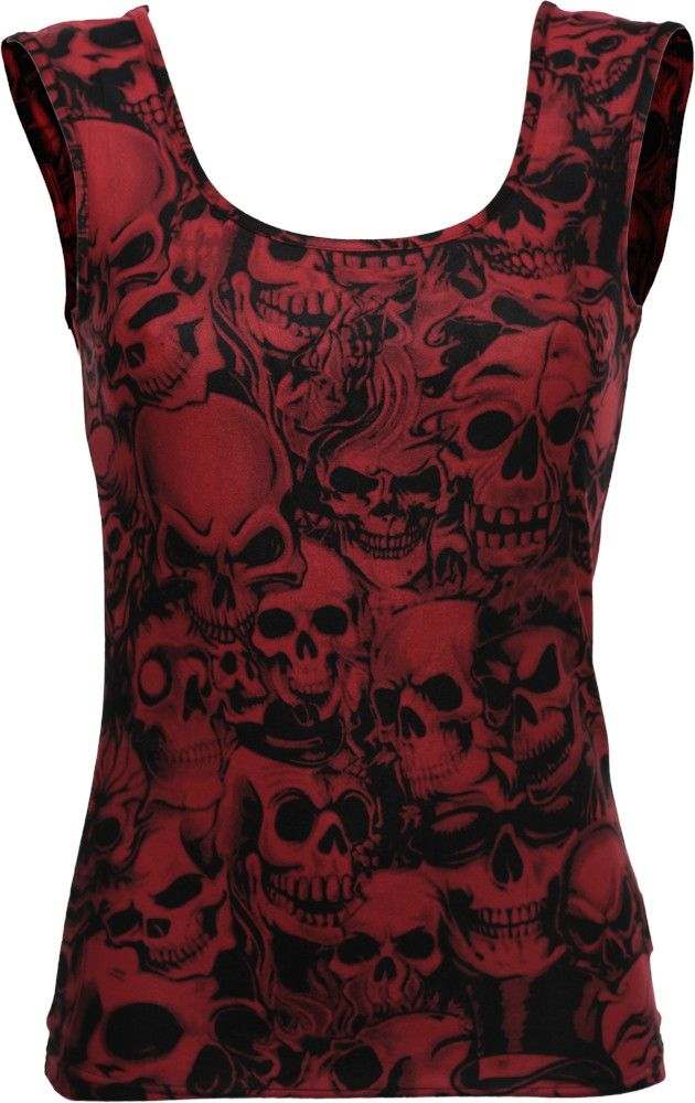 Red and black girl's top with skulls
