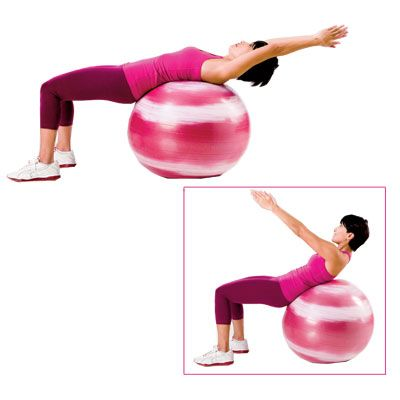 GET FLATTER ABS! Do 3 sets of 12–15 crunches on a stability ball 2–3 times a week to sculpt your belly in 3 weeks. | health.com