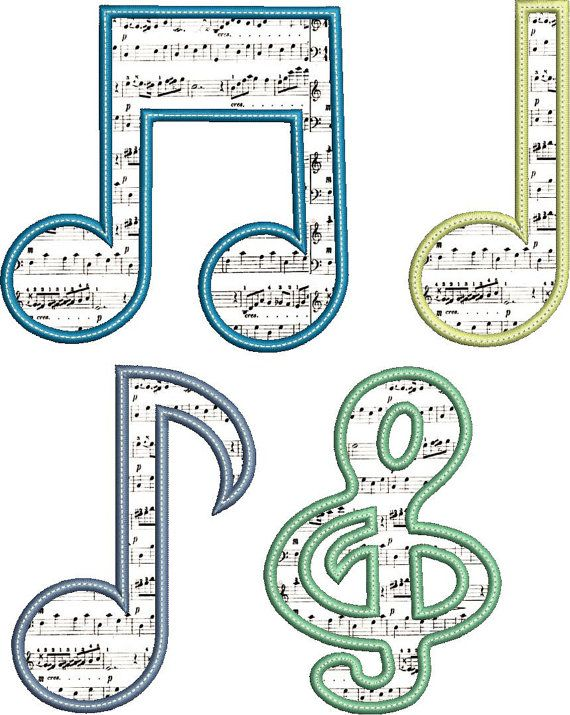 MUSICAL NOTES Applique Design  Instant Download by AppliqueAhoy, $2.00