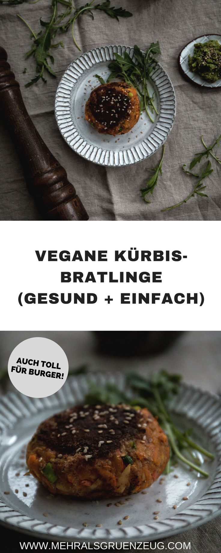 Vegane Kürbis-Bratlinge schnell und einfach aus wenigen Zutaten selbst gemacht. Sie eigenen sich auch toll für pflanzliche Burger (als Patties), machen aber schon alleine eine herbstliche Figur auf dem Teller.