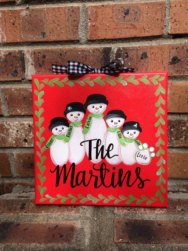 Family Sign Snowman Family Canvas Personalized Wall Art Personalized Christmas Wall Decor Christmas Wall Decor Hand Painted Gifts Personalized Wall Art