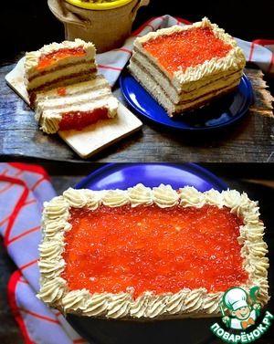 Селёдочный торт с красной икрой