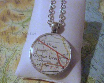 Gretna Green, Scotland: Vintage Map Pendant, Resin Pendant, Scottish Map Necklace Pendant
