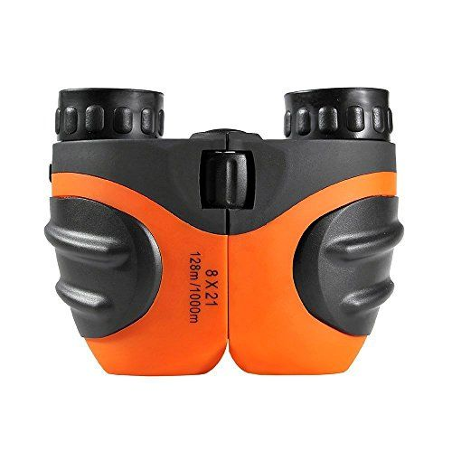 Fa_valley 8 X 21 Kids Binoculars for Bird Watching, Watching Wildlife or Scenery, Game, Mini Compact and Image Stabilized, Best Gifts for Children (Orange)  WIDELY USED: Golf, Camping, Hiking, Fishing, Bird watching, Concerts, etc.; Necessary fashion equipment for trip  TOP QUALITY: Non-slip scratch, Unique personality body pattern design. Multi-layer red broadband coating technology, make you see the scene more realistic  SMALL SIZE: Sized Perfectly for Small Heads and Easy for Your C...