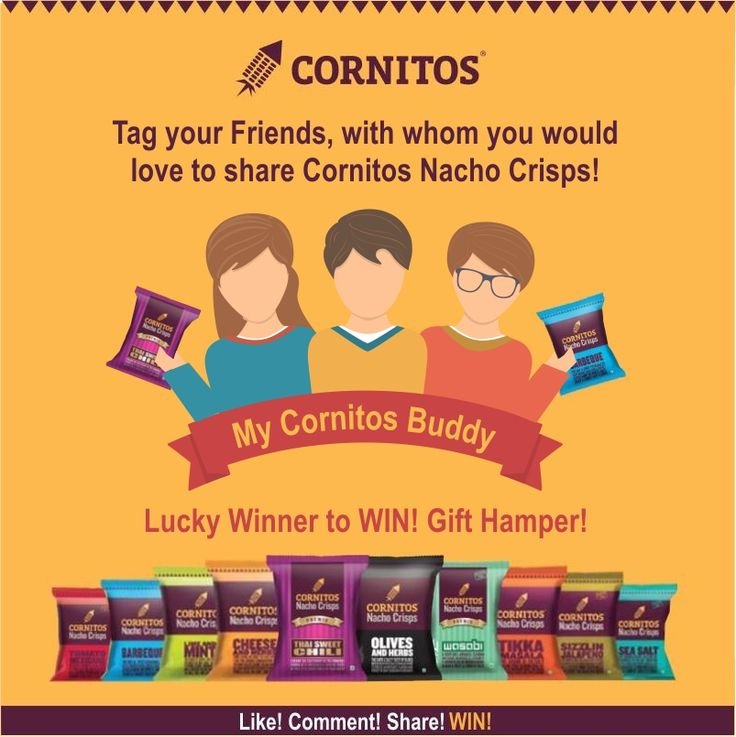 #ContestAlert #LoveForCornitos Tag a friend with whom you would love to share CORNITOS! and stand a chance to WIN an exciting gift hamper. LIKE.COMMENT.SHARE.TAG and WIN