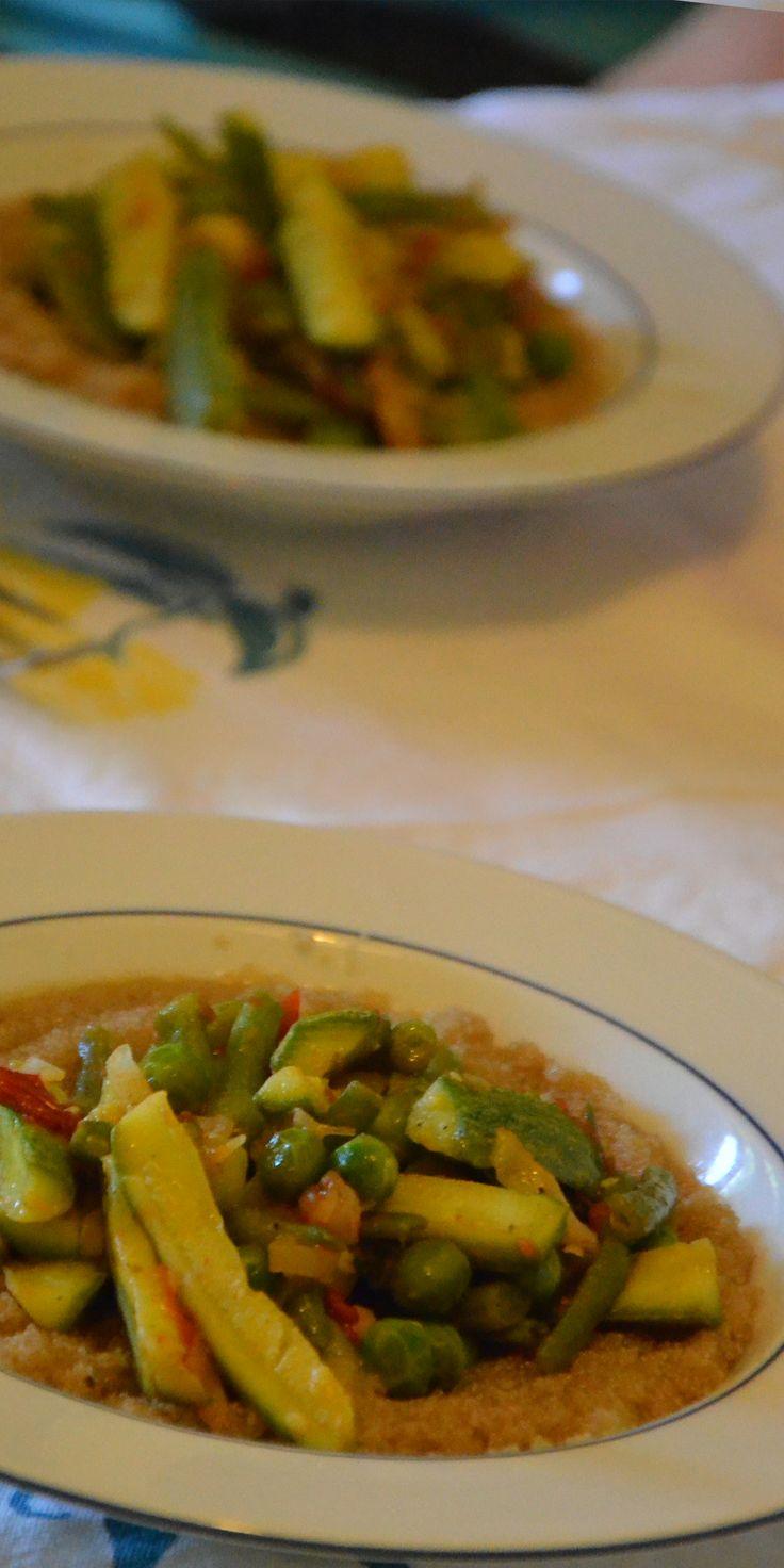 Amaranto con stufato di verdure primaverili