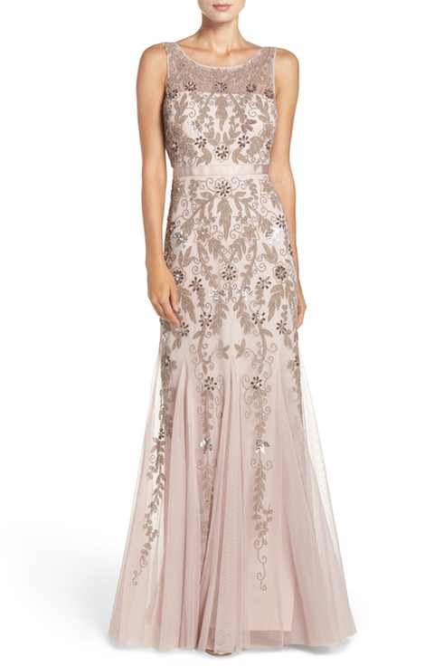 Adrianna Papell Embellished Mesh Mermaid Gown (Regular & Petite)