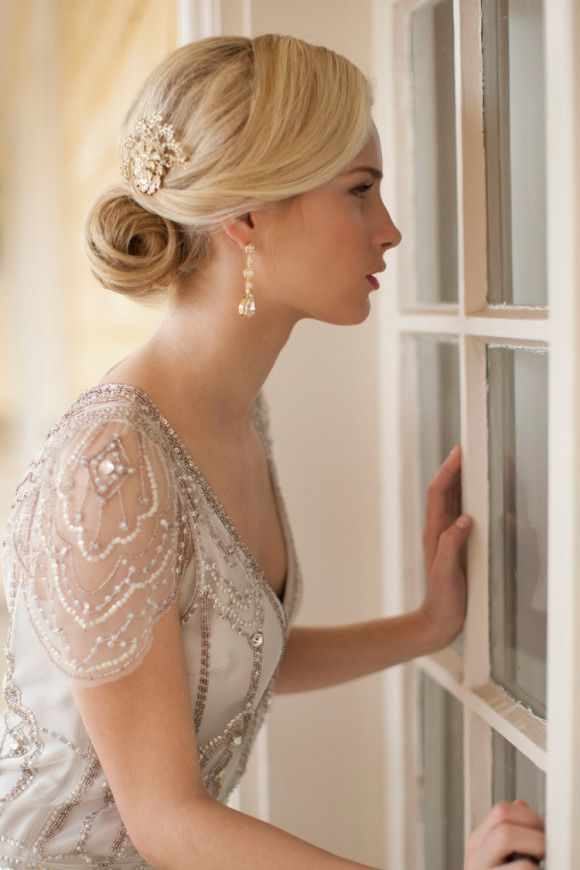 Mariell Hairpiece - lovely beaded wedding dress with sleeves http://www.pinterest.com/JessicaMpins/