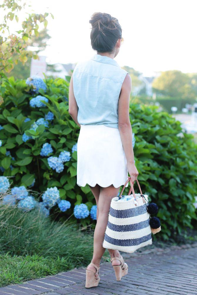 topshop scallop white miniskirt, striped handbag, light blue top. Summer women fashion outfit clothing style apparel @roressclothes closet ideas
