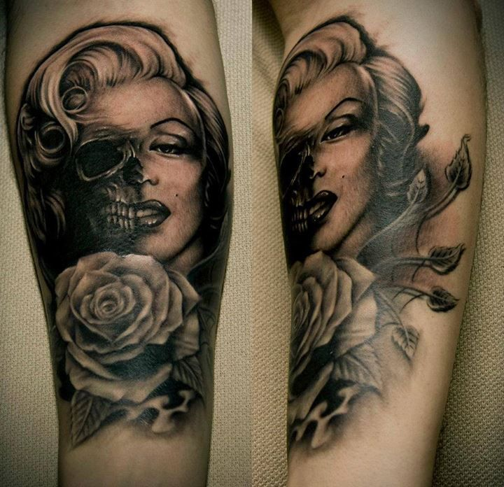 Live to be Beautiful, only to die? Sad but popular life philosophy. The Tribute to Marylin Monroe Tattoo by Bacanu Bogdan