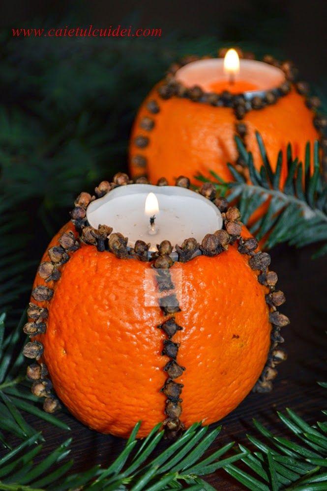 Suport de lumanare din portocala si cuisoare   CAIETUL CU IDEI
