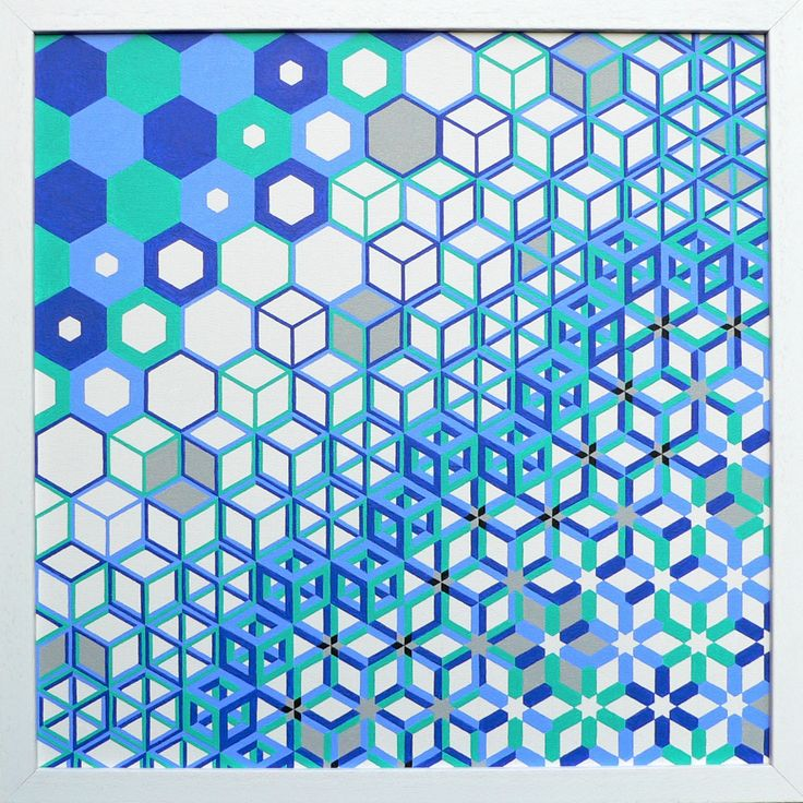 ' Hexamorphosis ' , painting by Ton Ensink (acrylic on canvasboard 40x40 cm)
