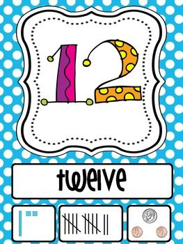FREE Here's a set of number posters from 1-20 that include the number word, tally marks, coin value and base-10 blocks.