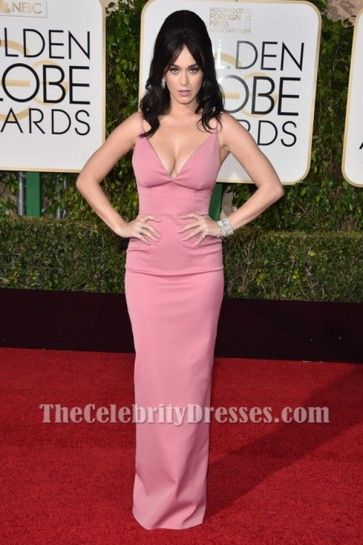 Katy Perry Pink Evening Gown Golden Globes Red Carpet Celebrity Dresses