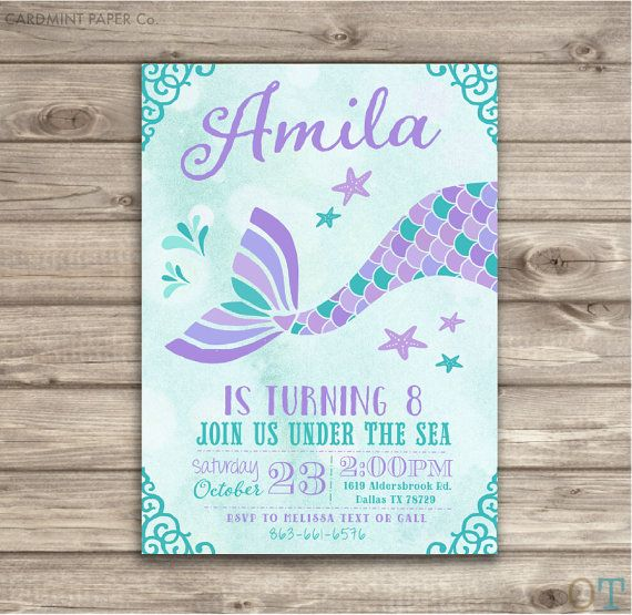 Mermaid Birthday Invitations Teal Aqua and Purple by cardmint
