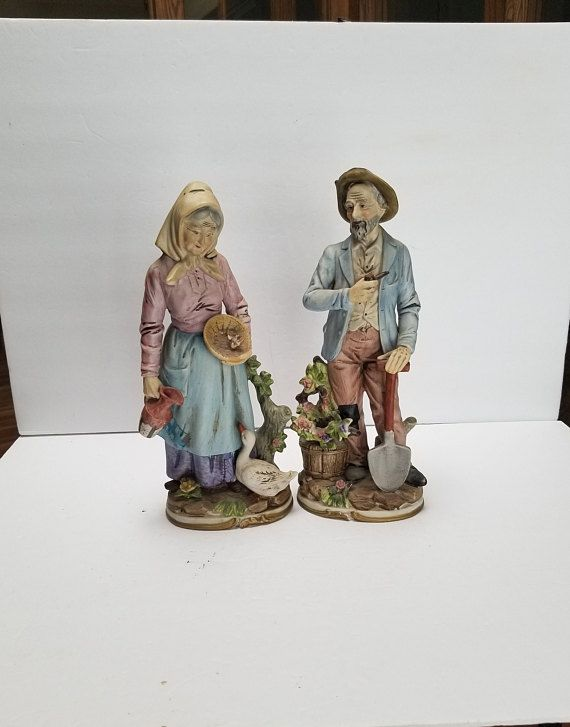 Vintage Homco Farmer Old Man And Woman Home Interior Figurines