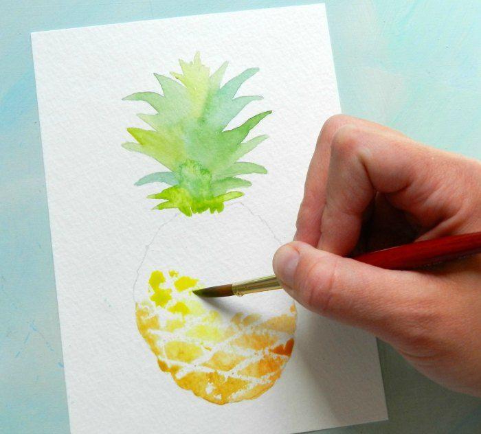 Pintar una acuarela de piña con este tutorial gratuito y plantilla.  Por Grow creativo
