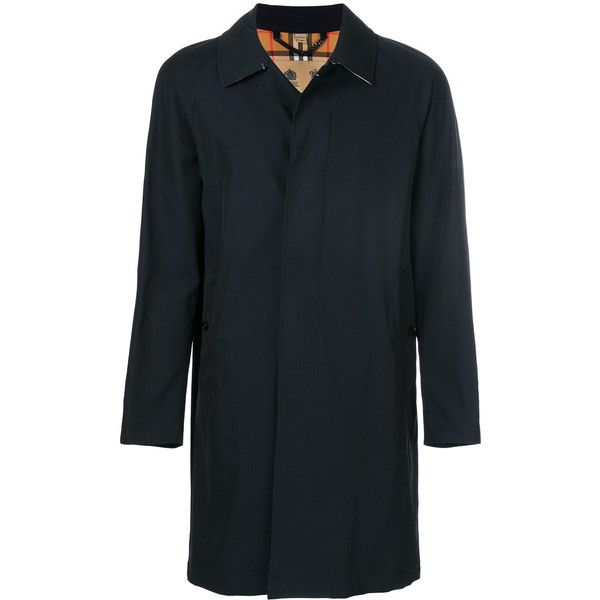 Burberry Camden long sleeved coat (33.520 ARS) ❤ liked on Polyvore featuring men's fashion, men's clothing, men's outerwear, men's coats, blue, burberry mens coat, mens fur collar coat, mens cape coat and mens blue trench coat