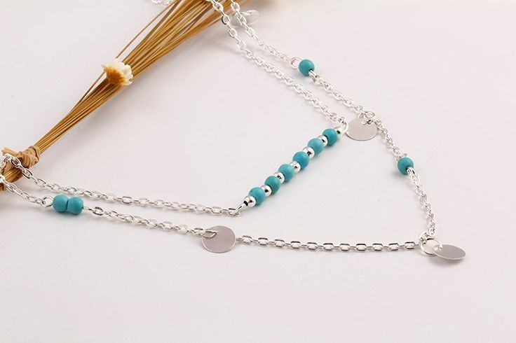 $7 Silver Coin Turquoise Bead Necklace