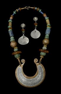 "Necklace & Earrings. | Plata Nativa Designs. ""Autumn"".  Mapuche style sterling silver and copper pendant combined with jade, lapis lazuli, and coral."