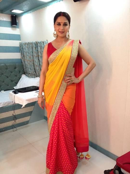 Madhuri Dixit in Yellow red saree – Panache Haute Couture