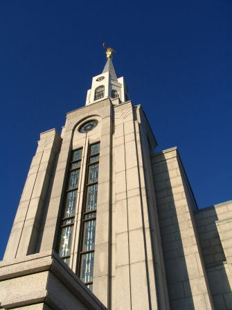 The angel Moroni stands on top of the spire of the Boston Massachusetts Temple.