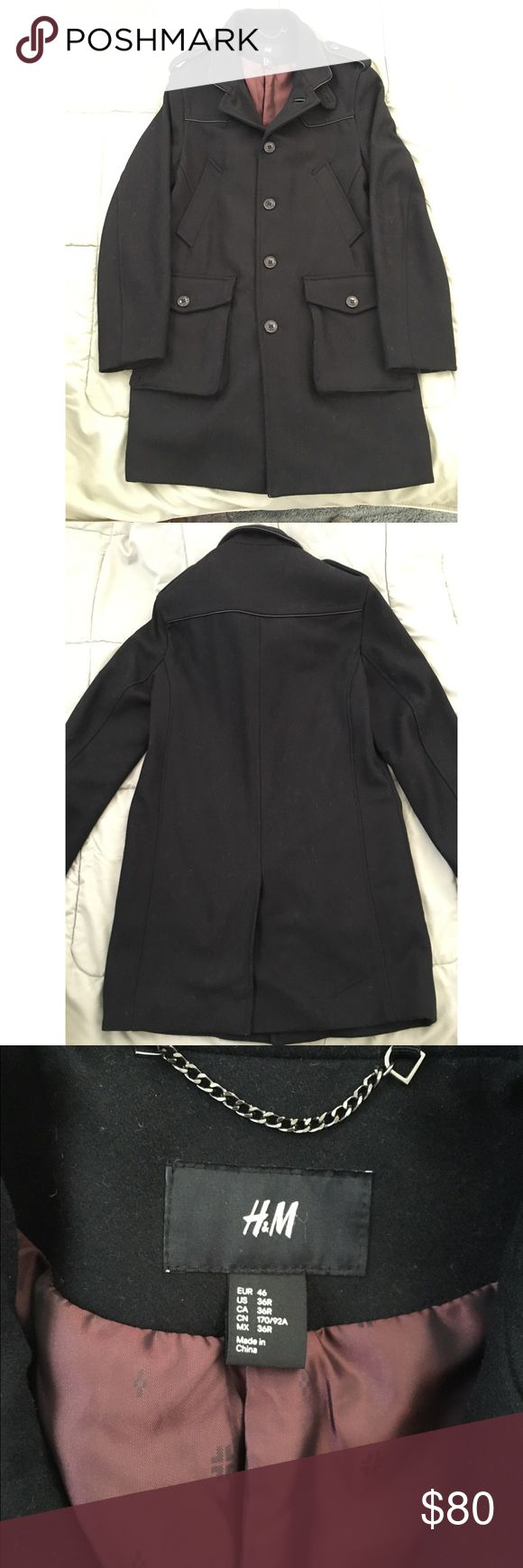 H&M men's black military peacoat On sale for $30 for a limited time! Rarely worn, very clean men's H&M Black Military style Peacoat in size small. Great tailored fit. H&M Jackets & Coats Pea Coats