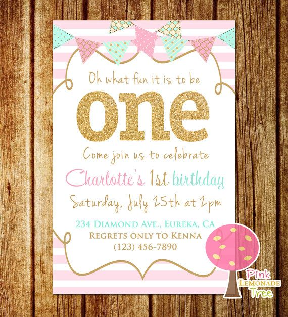 Pink Mint and Gold First Birthday Party by PinkLemonadeTree