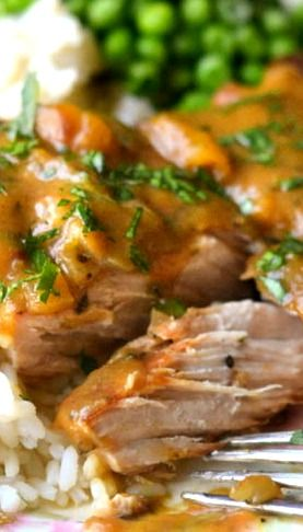 Slow Cooked Peach Barbecue Smothered Pork Chops Recipe ~ They turned out AMAZING, they fall off the bone!