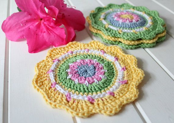 Crochet Spring Coasters Set of Four by threadbarehandmadeau