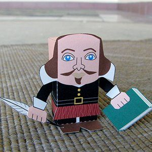 Paper Toy of Shakespeare from a site with hundreds of free paper toy downloads