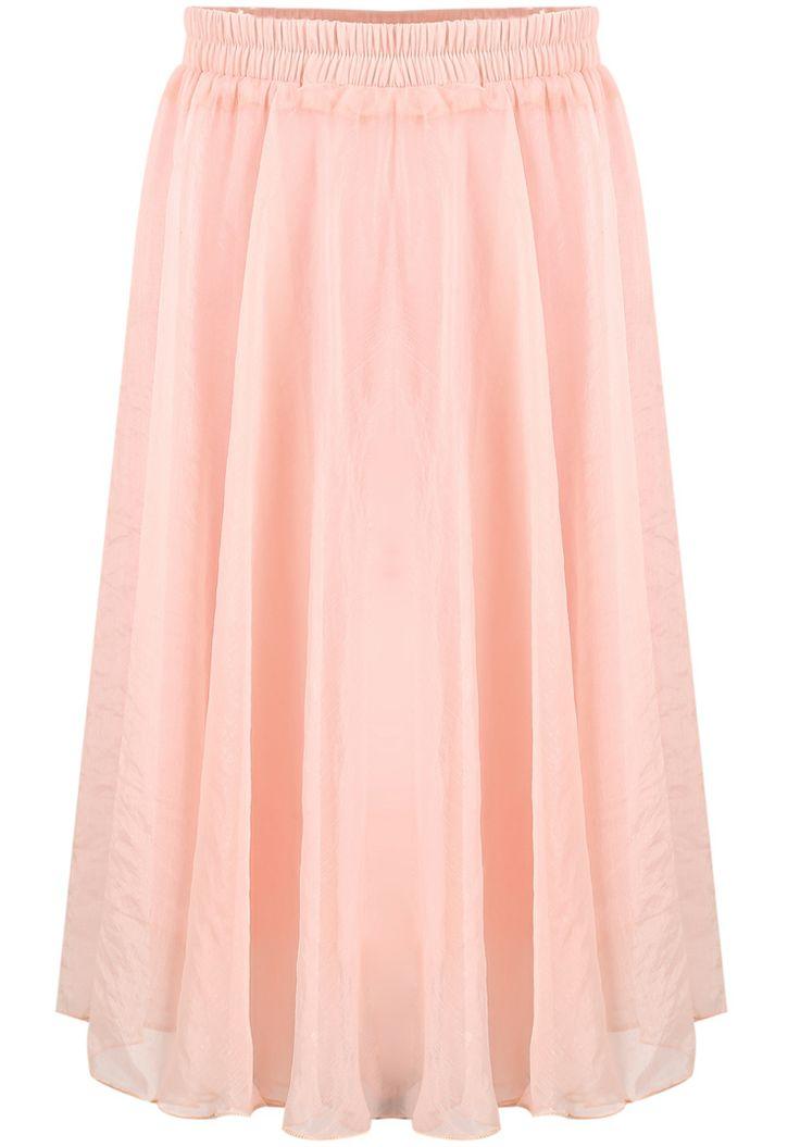 Pink Elastic Waist Pleated Chiffon Skirt - Sheinside.com
