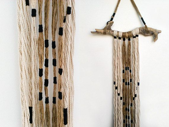 Wall hanging art Modern rustic fringed wall by myTotalHandMade