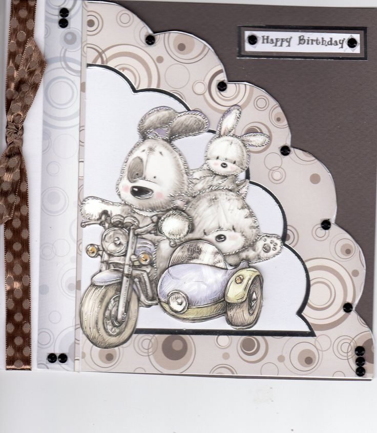 HUNKYDORY Smudge and Mitten motorcycle card by sue elvin