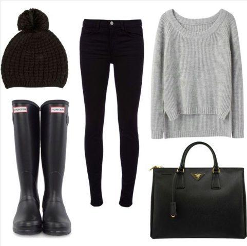 Rainy day fashion. Hunter boots + me = love. Rainy