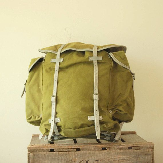 Norwegian Army Backpack Rucksack  Canvas Leather Hunting