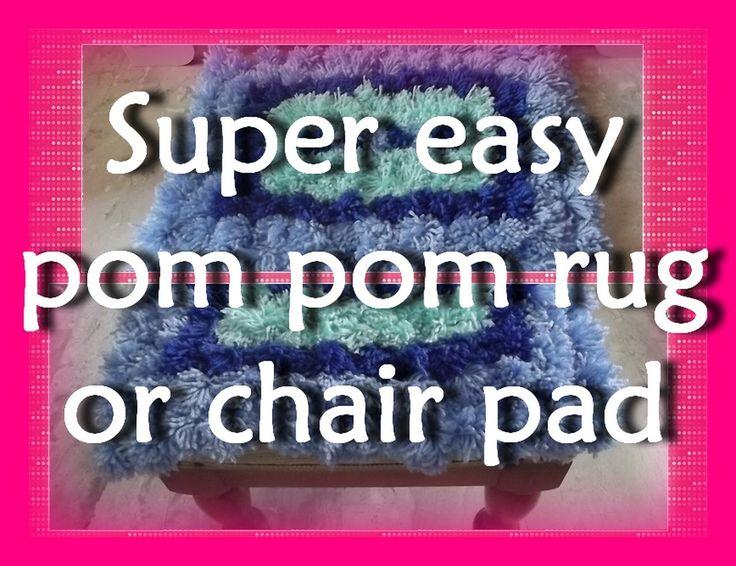 DIY - Super easy PomPom rug or chair pad/Χαλάκι - Μαξιλαράκι από Πομ Πομ