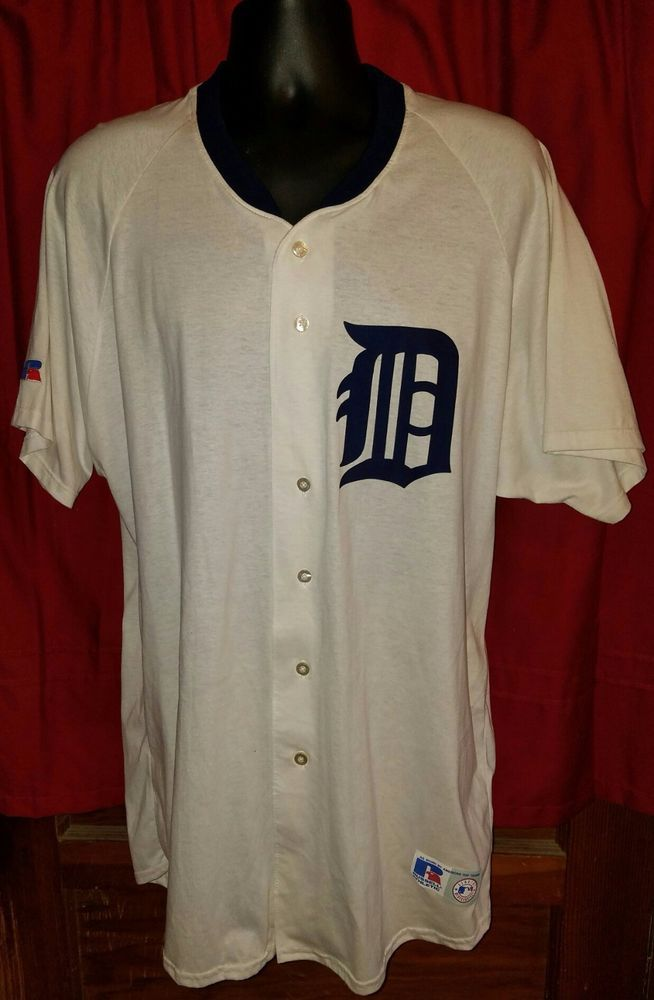 New Russell Athletic Detroit Tigers XXL 2XL Jersey Button Down Shirt Made USA Rare #Majestic #DetroitTigers
